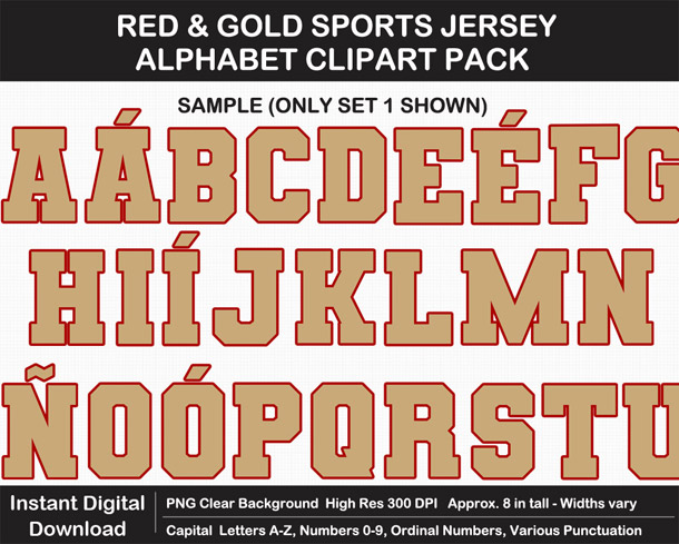 Love these fun Red and Gold Sports Jersey Alphabet Clipart for Sign Making - Letters, Numbers, Punctuation - Go Niners!