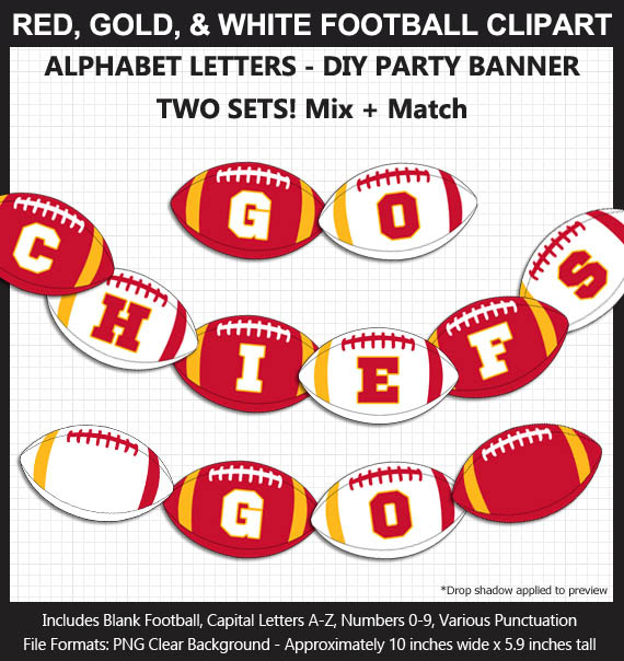 Love these fun Red, Gold, and White Football clipart for game day decoration - Letters, Numbers, Punctuation - Go Chiefs!