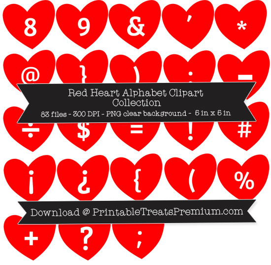 Red Heart Alphabet Clipart Collection