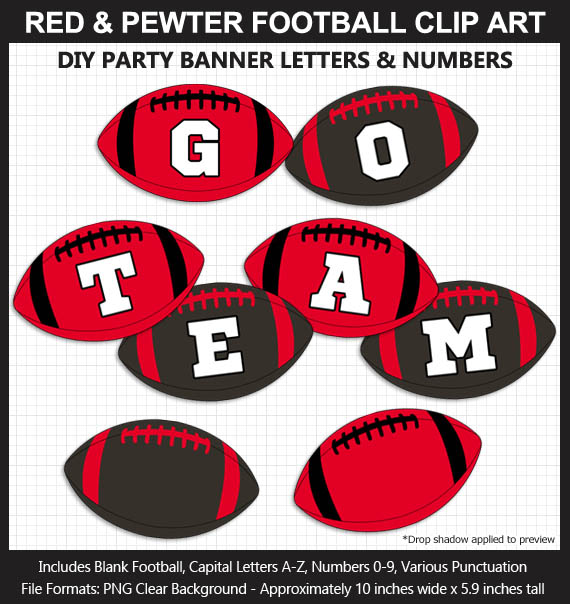 Love these fun Red and Pewter Football clipart for game day decoration - Letters, Numbers, Punctuation - Go Buccaneers!