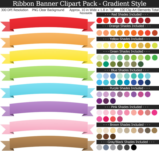 Rainbow Ribbon Banner Clipart Pack - Clear Background PNG - Large 10 inches Wide x 1.8 inches Tall Resizeable - 100 Colors