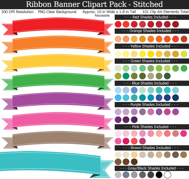 Stitched Ribbon Banners Clipart Pack