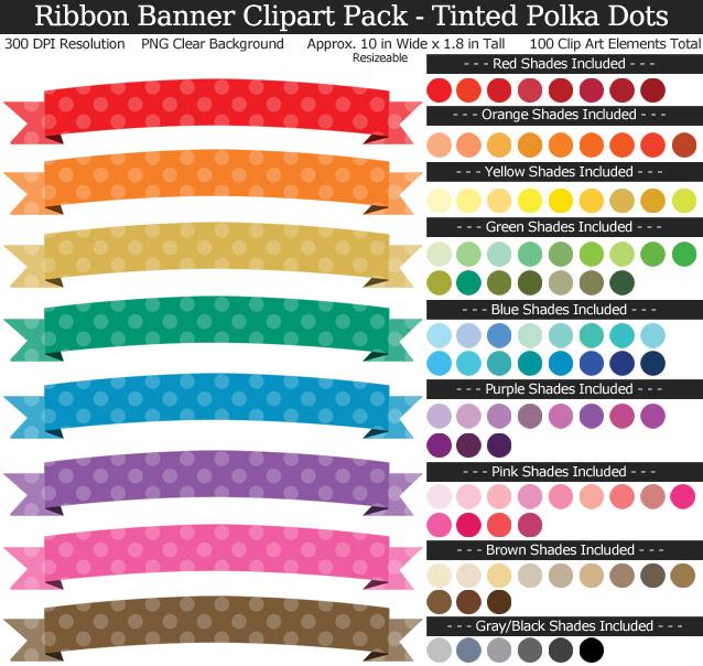 Polka Dot Ribbon Banners Clipart Pack