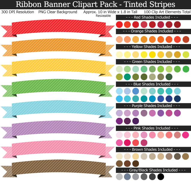 Ribbon Banners Clipart Pack