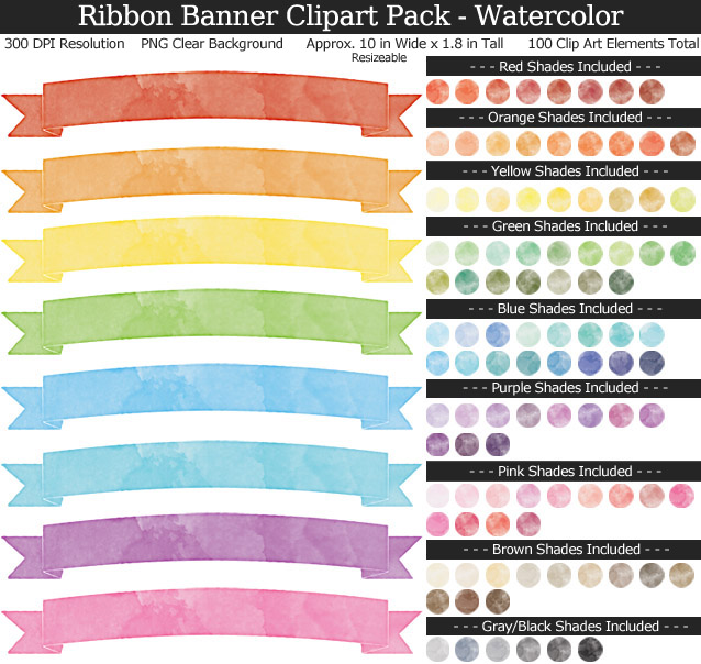 Watercolor Ribbon Banners Clipart Pack