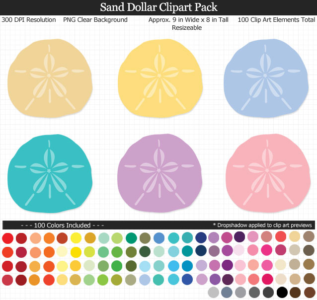 Love this cute set of beach sand dollar clipart - Under the Sea clear background - 100 colors