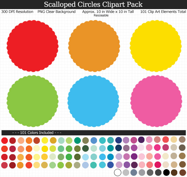 Scalloped Circles Clipart Pack