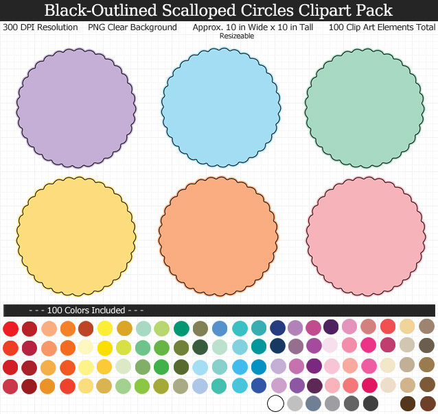 Rainbow Scalloped Circles Clipart Pack - Clear Background PNG - Large 10 inches Wide x 10 inches Tall Resizeable - 100 Colors