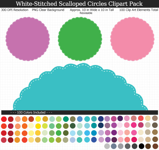 Stitched Scalloped Circles Clipart Pack