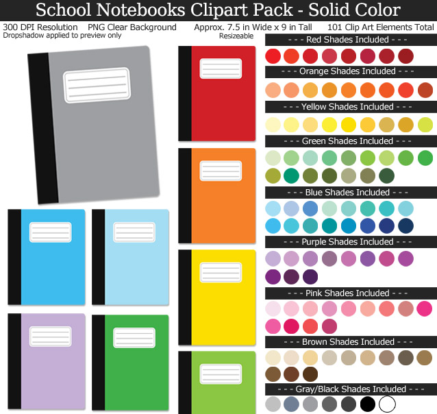 Rainbow School Notebook Clipart Pack - Clear Background PNG - Large 7.5 inches Wide x 9 inches Tall Resizeable - 100 Colors
