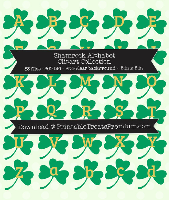 Printable Shamrock Alphabet Letters, Numbers, Punctuation - DIY St. Patrick's Day Sign