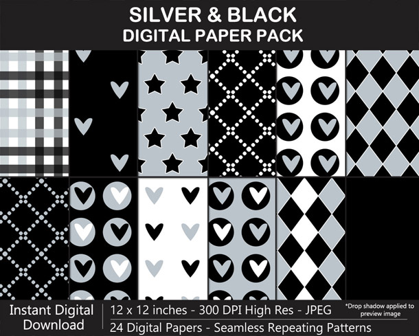 Love these fun silver and black digital papers!