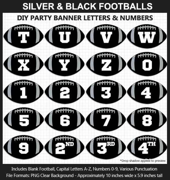 Love these fun Silver and Black Football clipart for game day decoration - Letters, Numbers, Punctuation - Go Raiders!