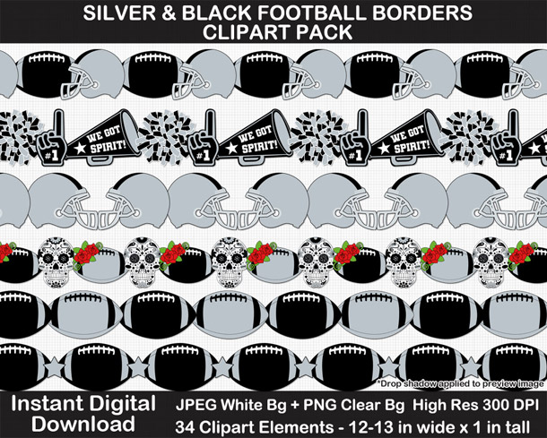 Love these fun silver and black football borders for scrapbooks, signs, and bulletin boards. Go Raiders!