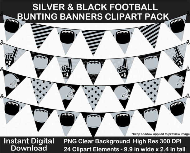 Love these fun silver and black football bunting banner cut outs for decorating! Go Raiders!
