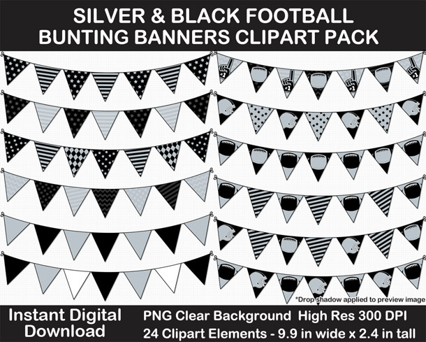 Love these fun Silver and Black Football Theme Bunting Banner Clipart - Go Raiders!