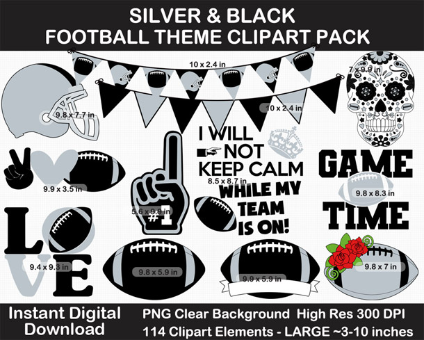 Love these fun football clipart! Go Raiders!