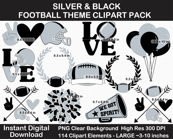 Love these fun Silver and Black Football Theme Clipart - Letters, Numbers, Punctuation - Go Raiders!