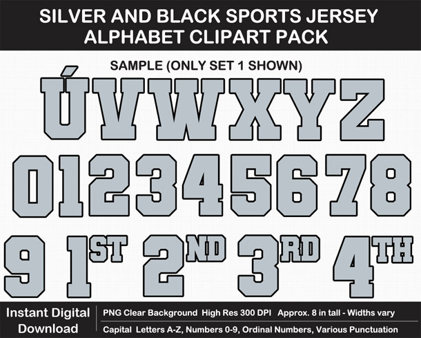 Love these fun Silver and Black Sports Jersey Alphabet Clipart for Sign Making - Letters, Numbers, Punctuation - Go Raiders!
