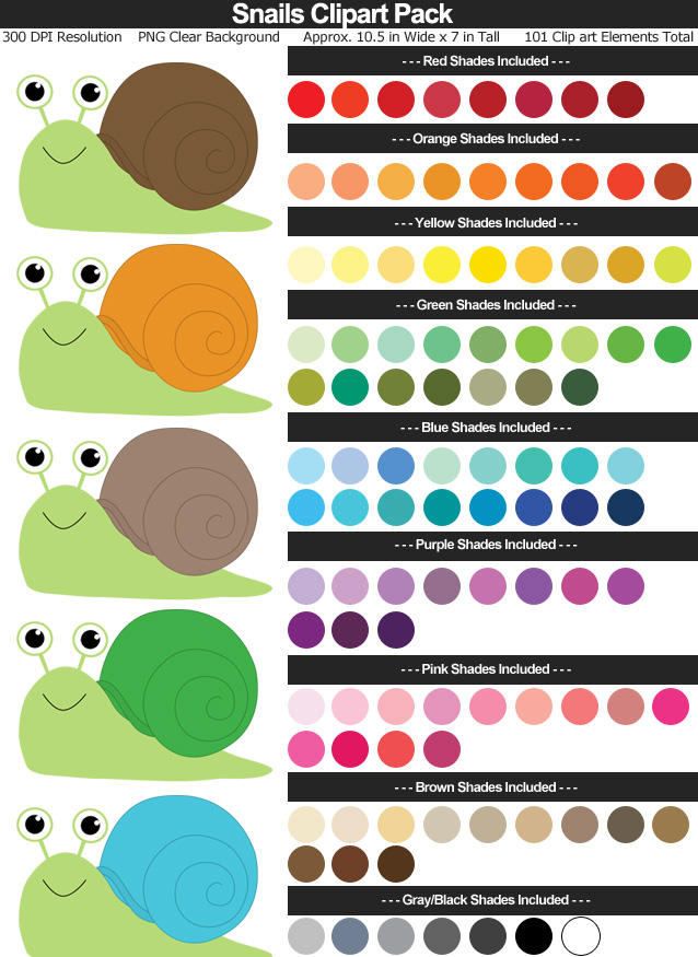 Snails Clipart Pack
