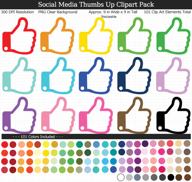 Love these rainbow social media thumbs up clipart - 101 colors