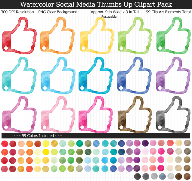 Love these rainbow watercolor social media thumbs up clipart - 99 colors