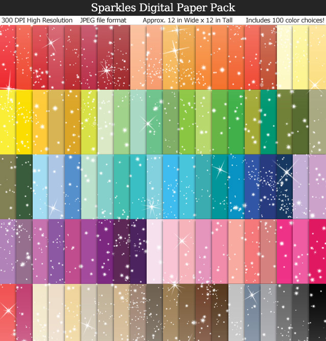 100 Colors Sparkles Digital Paper Pack 12x12 inches