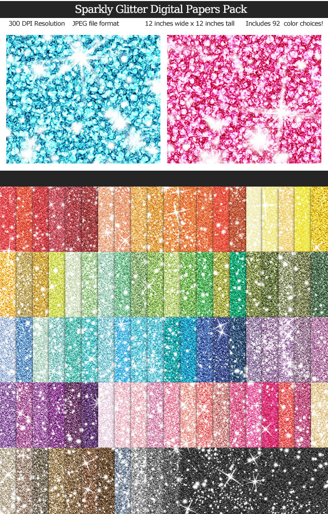 Rainbow Colors Sparkly Glitter Digital Paper Pack 12x12 inches