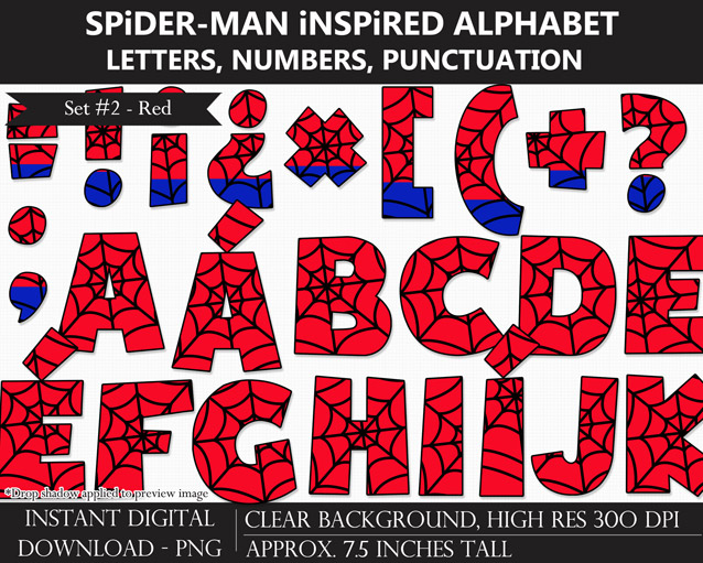 Spider-man-Inspired Alphabet Clipart - Letters, Numbers, Punctuation