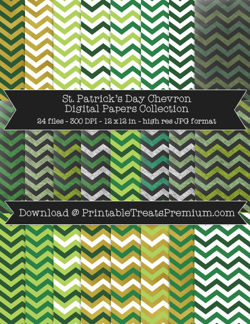 24 St Patricks Day Chevron Digital Papers Collection