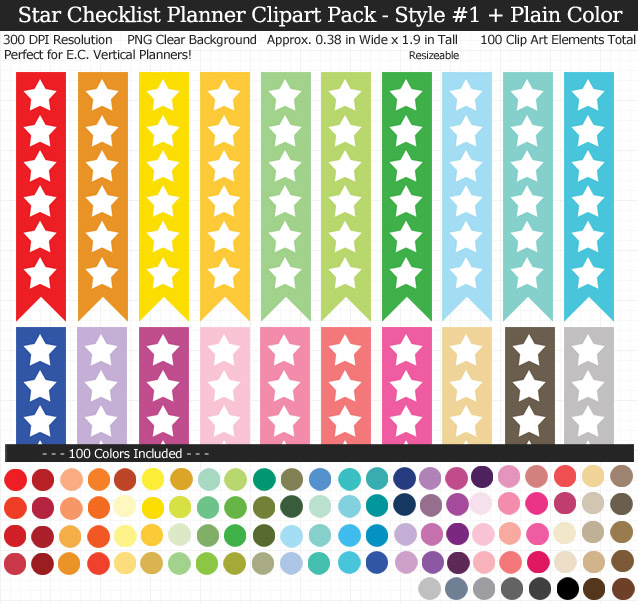 Love these rainbow star checklist clipart for my Erin Condren vertical planner - 100 colors