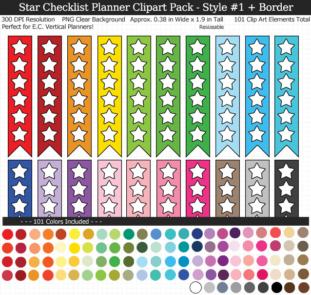 Love these rainbow star checklist clipart for my Erin Condren vertical planner - 101 colors