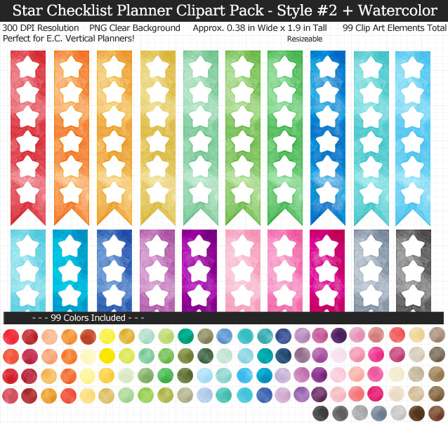 Love these rainbow watercolor star checklist clipart for my Erin Condren vertical planner - 99 colors