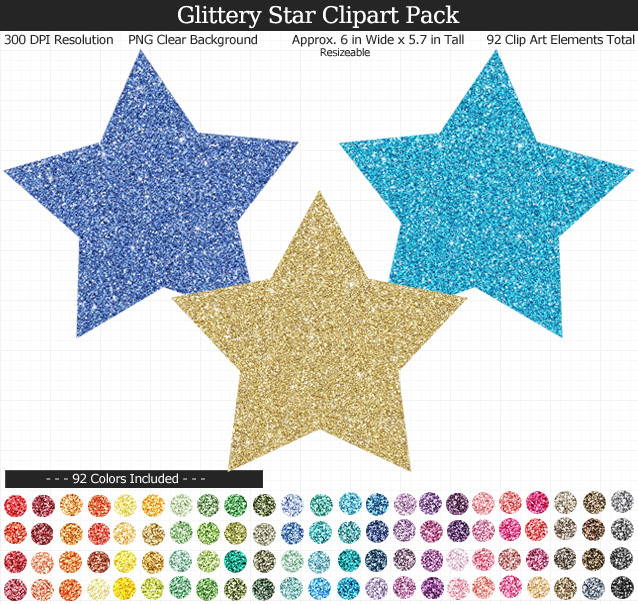 Rainbow Glitter Star Clipart Pack - Clear Background PNG - Large 6 inches Wide x 5.7 inches Tall Resizeable - 92 Colors