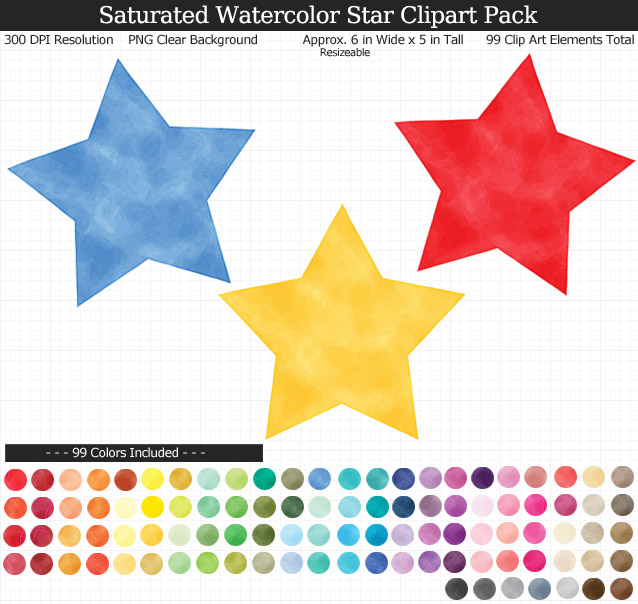 Rainbow Watercolor Star Clipart Pack - Clear Background PNG - Large 6 inches Wide x 5 inches Tall Resizeable - 99 Colors