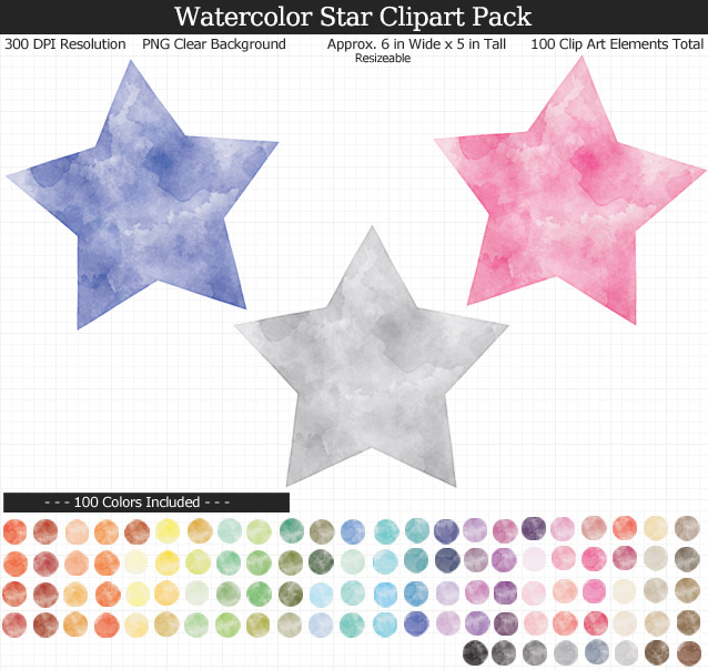 Rainbow Watercolor Star Clipart Pack - Clear Background PNG - Large 6 inches Wide x 5 inches Tall Resizeable - 100 Colors