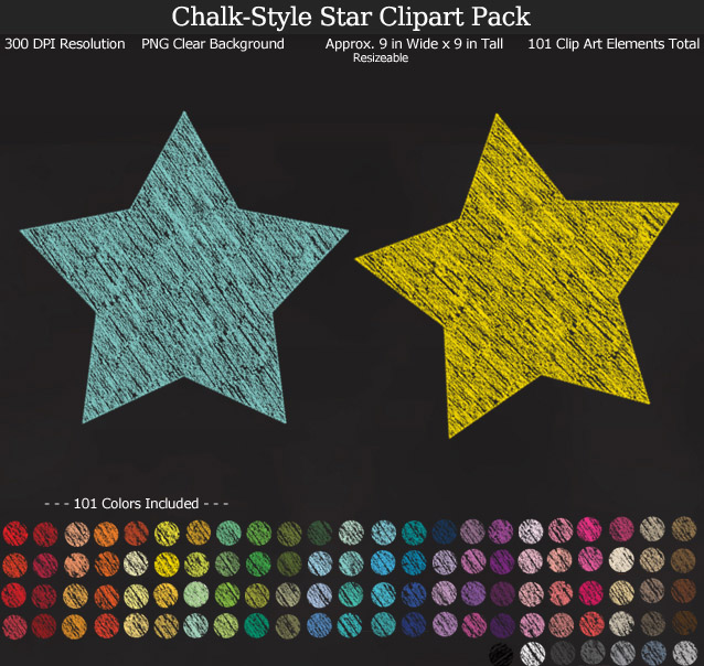 Rainbow Chalk Star Clipart Pack - Clear Background PNG - Large 9 inches Wide x 9 inches Tall Resizeable - 101 Colors