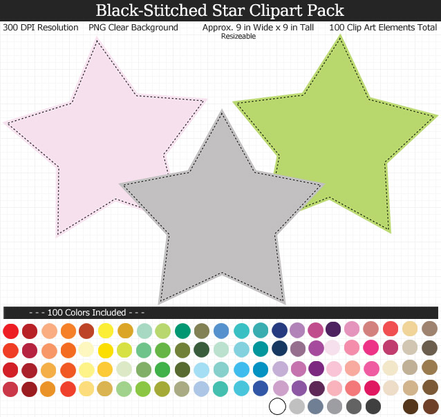 Rainbow Star Clipart Pack - Clear Background PNG - Large 9 inches Wide x 9 inches Tall Resizeable - 100 Colors