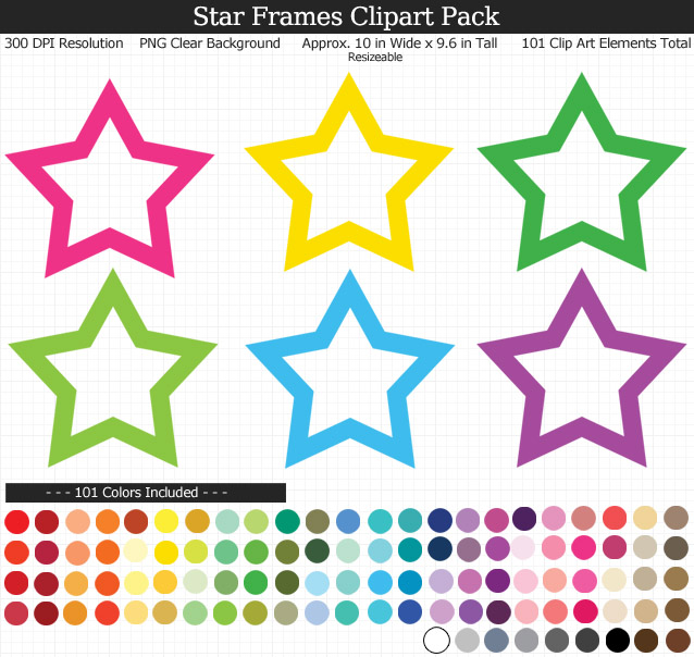 Rainbow Star Frames Clipart Pack - Clear Background PNG - Large 10 inches Wide x 9.6 inches Tall Resizeable - 101 Colors
