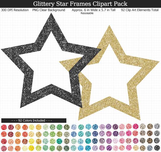 Rainbow Glitter Star Frames Clipart Pack - Clear Background PNG - Large 6 inches wide x 5.6 inches Tall Resizeable - 92 Colors