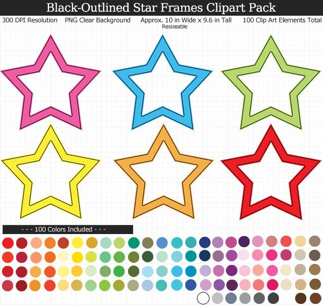 Star Frames Clipart Pack