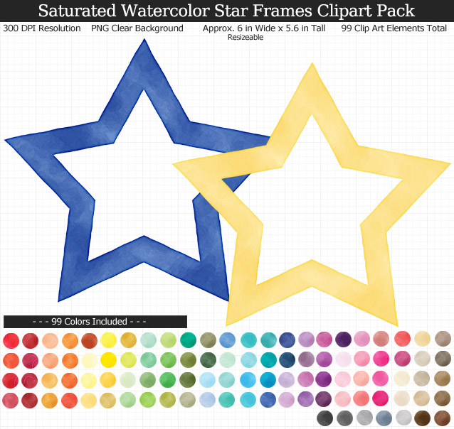 Rainbow Watercolor Star Frames Clipart Pack - Clear Background PNG - Large 6 inches wide x 5.6 inches Tall Resizeable - 99 Colors