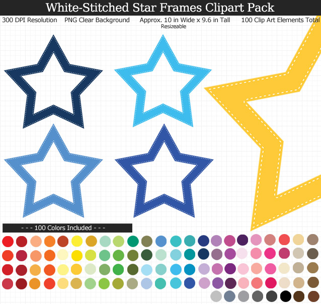 Rainbow Star Frames Clipart Pack - Clear Background PNG - Large 10 inches Wide x 9.6 inches Tall Resizeable - 100 Colors