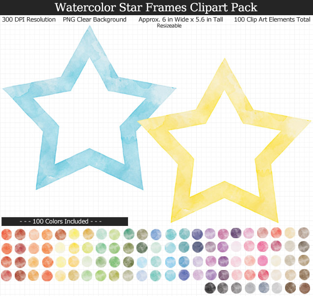 Rainbow Watercolor Star Frames Clipart Pack - Clear Background PNG - Large 6 inches wide x 5.6 inches Tall Resizeable - 100 Colors