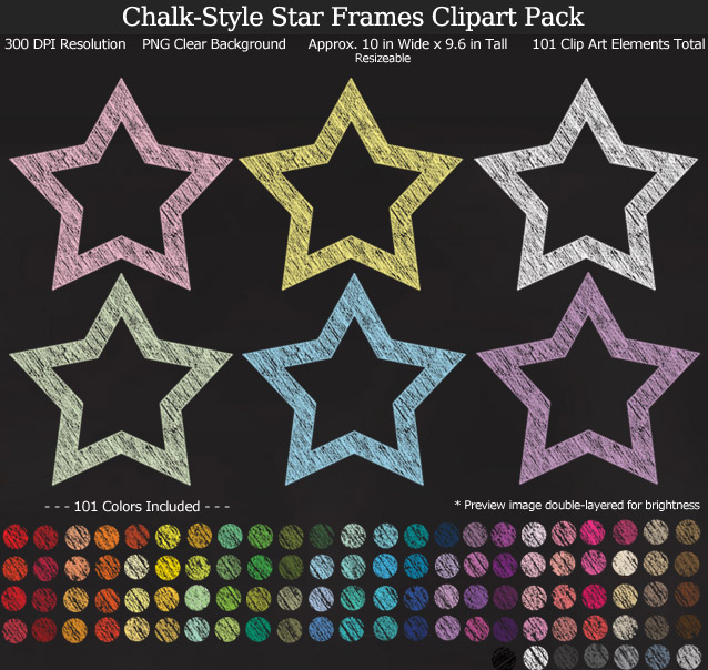 Rainbow Chalk Star Frames Clipart Pack - Clear Background PNG - Large 6 inches wide x 5.6 inches Tall Resizeable - 101 Colors