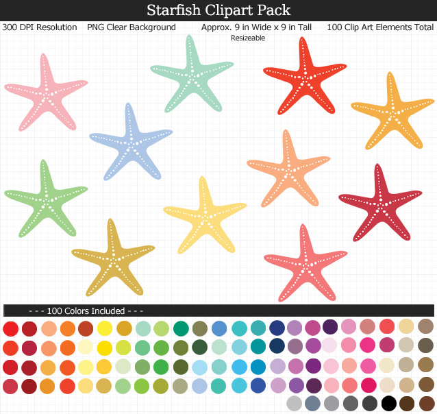 Love this cute set of ocean starfish clipart - Under the Sea clear background clip art - 100 colors