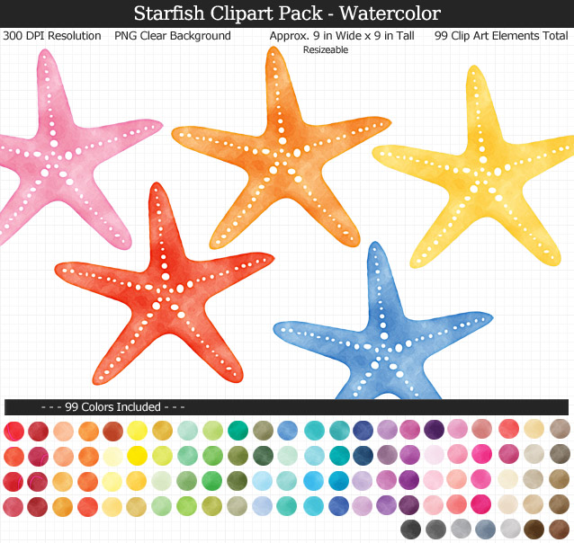 Love this cute set of watercolor starfish clipart - Under the Sea clear background clip art - 99 colors