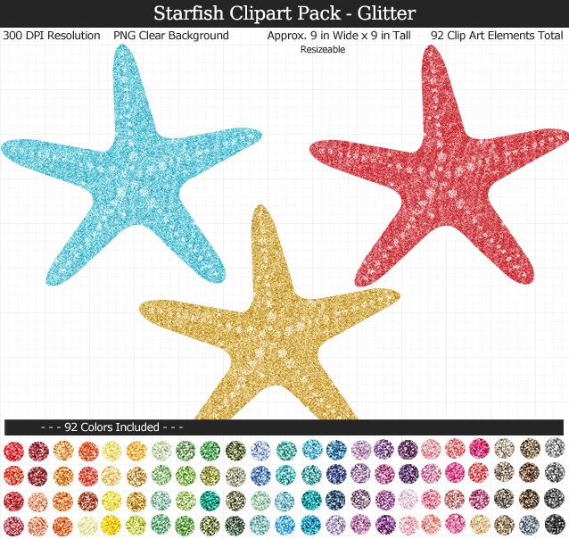 Love this cute set of glittery starfish clipart - Under the Sea clear background clip art - 92 colors