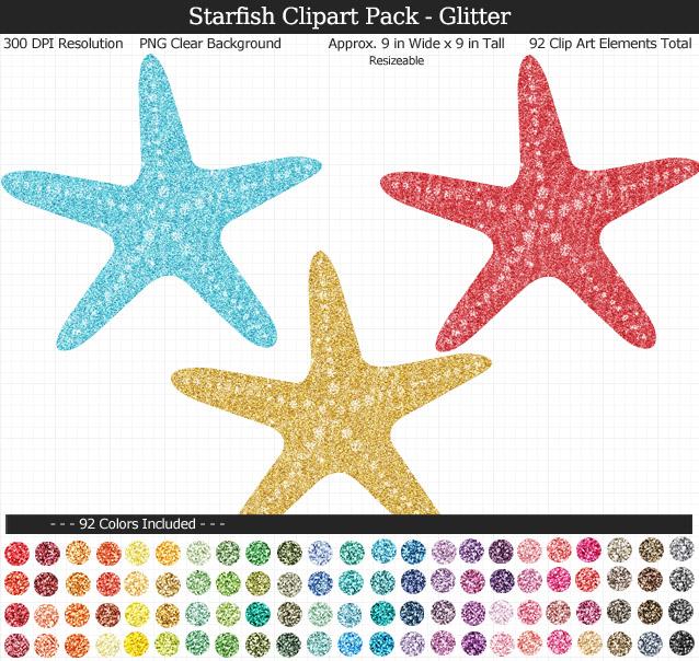 Glittery Starfish Clipart Pack