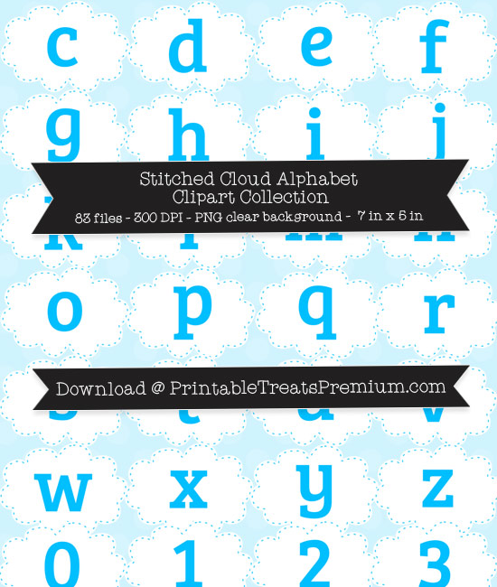 Stitched Cloud Alphabet Clipart Collection